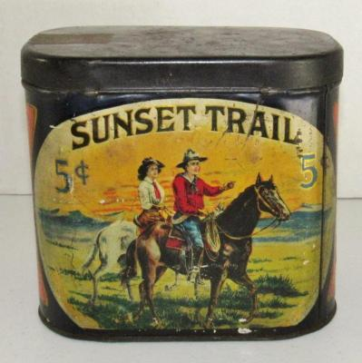 Early Sunset Trail 5-Cent Tobacco Cigar Oval Tin