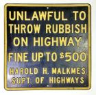 """Unlawful to Throw Rubbish on Highway"" SST Sign"