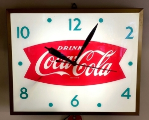 "Vintage ""Drink Coca-Cola"" Lighted Fishtail Clock"