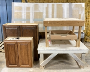 Wooden Tables, Cabinets, & Carts