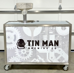 Stainless Steel 4-Tap Beer Cart with Chiller - USED