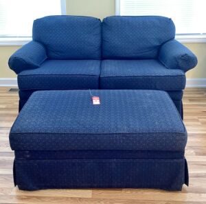 Blue Loveseat with Ottoman