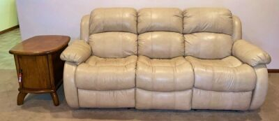 Vinyl Sofa with Built-In Recliners