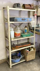 Metal Shelves & Contents