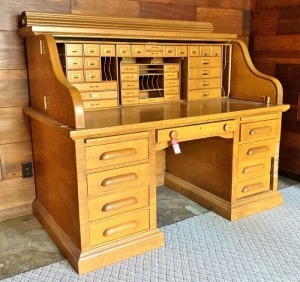 "Late 1800's ""S-Curve"" Rolltop Oak Desk"