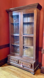 Early Walnut Glass Door Cupboard