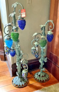 Pair Decorative Grape Themed Floor Lamps