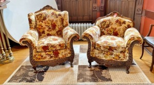 Mid-Century Floral Chairs