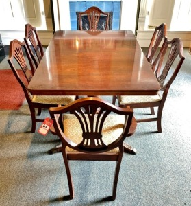 Duncan Phyfe Style Mahogany Table & Chairs