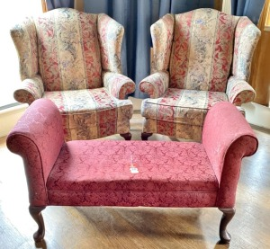 Pair Floral Wing-Back Chairs & Bedroom Bench