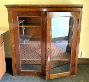 Early Pine Glass Door Cupboard