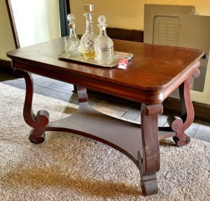 Antique Library Table & Liquor Decanters