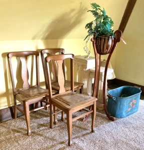 Vintage Chairs, Plant Stands, Copper Boiler