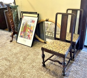 Vintage Chairs, Plant Stands, Wall Hangings