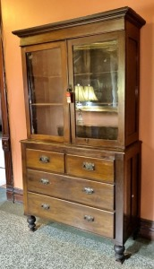 Antique Mahogany Stepback Glass Door Cupboard