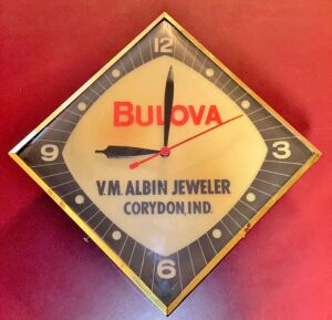 """V.M. ALBIN JEWELER CORYDON, IND"" Bulova Lighted Diamond Advertising Clock"