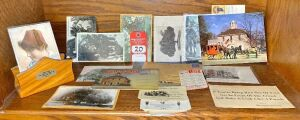 Constitution Elm Letter Holder & Early Corydon Postcard Collection