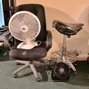 Chair, Stool, & Fans