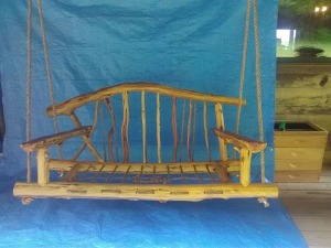 Handcrafted Rustic Wooden Porch Swing