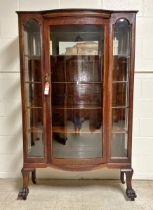 Vintage Original Finish Oak Bow Front Square China Cabinet