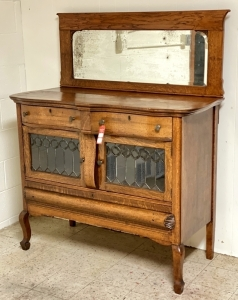 Quality Leaded Glass Front Sideboard