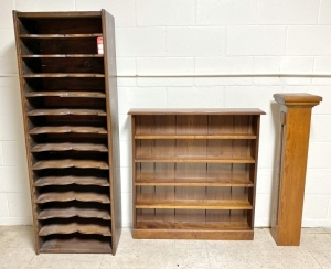 Early Pine Storage Cabinet, Plant Stand, & Shelf