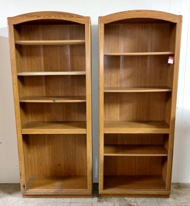 Pair of Matching Oak Bookcases