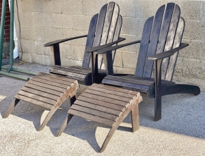 Pair of Black Adirondack Chairs & Stools