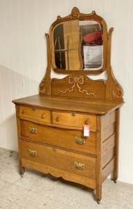 Antique Oak Dresser with Wishbone Mirror