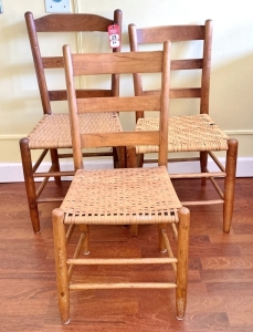 Vintage Woven Bottom Ladder Back Chairs