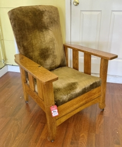 Antique Oak Reclining Chair with Extendable Footrest