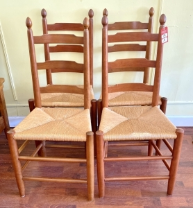 Set of Cherry Ladder Back Woven Bottom Chairs