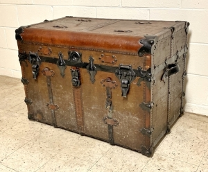 L. Goldsmith & Son Never Break Leather Shipping Steamer Trunk