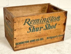 Vintage Remington Shur Shot Wooden Ammo Box