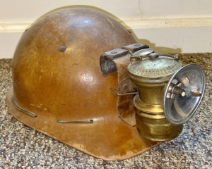 Vintage Auto-Lite Carbide Lamp with Hard Hat
