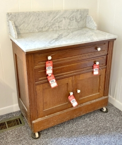 Antique Oak Marble Top Washstand