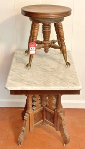 Antique Marble Top Occasional Table and Organ Stool