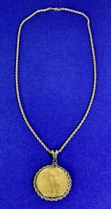 1986 American Eagle Gold Bullion Coin Necklace $50