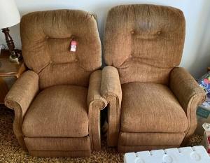Pair of Brown Matching Recliners