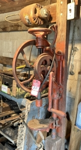 "Early Hand Crank ""The Silver MFG Co"" Post Mounted Drill Press"