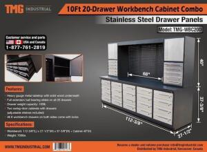 Heavy Duty 20-Drawer Stainless Work Bench Cabinet Combo-New