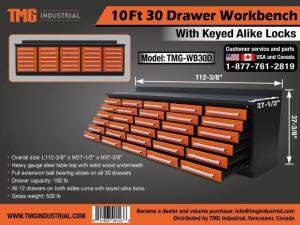 Heavy Duty 30-Drawer Work Bench-New
