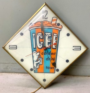 "Vintage Pam ""ICEE coldest drink in town"" Diamond Hanger Clock"