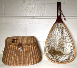 Vintage Wicker Creel and Fishing Net
