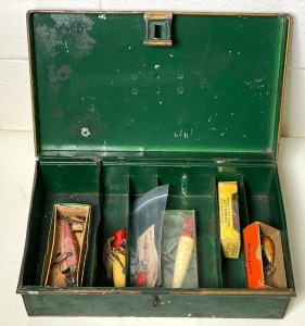 Early Regal No. 5 Hand Painted Tackle Box with Lures