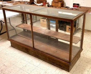 Vintage Oak Country Store Glass Display Case