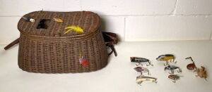 Wicker Fishing Creel and Lures