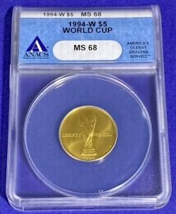 1994-W $5 World Cup Gold MS-68 ANACS