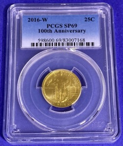 2016-W 25-Cent 100th Anniversary Liberty Gold SP-69 PCGS
