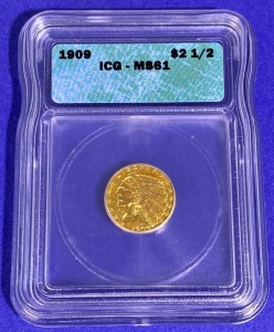 1909 $2.50 Indian Head Gold MS-61 IGC